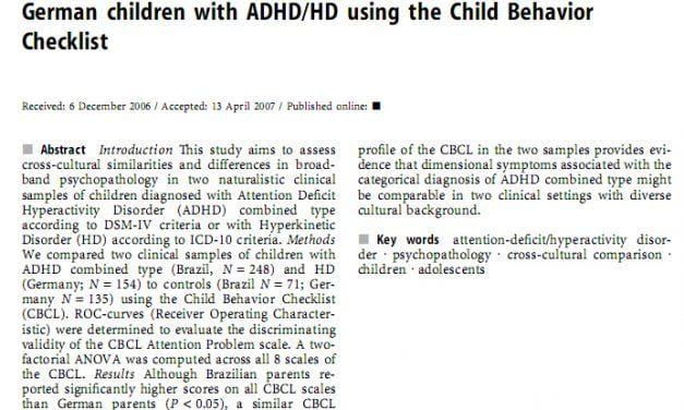 Artigos Científicos sobre TDAH em Inglês