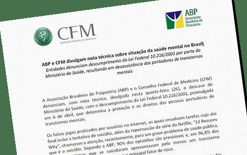 ABP e CFM divulgam nota técnica sobre situação da saúde mental no Brasil